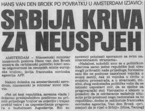 EZ trojka optužuje Srbiju za neuspjeh pregovora 5. kolovoza 1991.