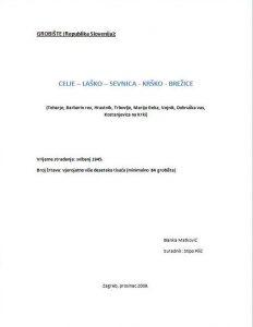 Naslovnica elaborata o celjskim grobištima s datumom prosinac 2009.