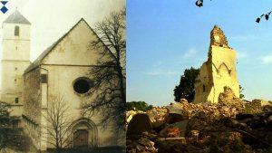 Župna crkva Pohođenja Blažene Djevice Marije, Voćin, izgrađena u 15. stoljeću,razorena 1991.