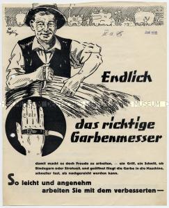 """Njemački plakat naslova """"Endlich das richtige Garbenmesser"""" tiskan 1930. godine koji pokazuje """"srbosjek"""" kao poljoprivredni alat."""