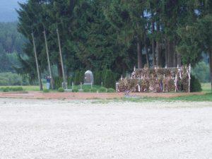 Blanka Matković (ono plavo maleno lijevo od spomenika) na Bleiburškom polju u lipnju 2008.