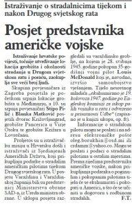 Varaždinske vijesti, br. 3317, 29.7.2008. U tekstu je spomenut posjet Stipe Pilića i Blanke Matković grobištima na varaždinskom području 10. srpnja 2008.