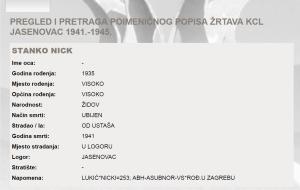 Podaci JUSP Jasenovac o Stanku Nicku