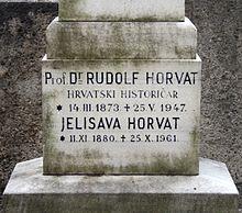 Nadgrobna ploča dr. Rudolfa Horvata i njegove supruge Jelisave Horvat