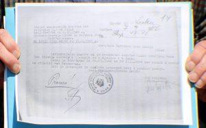 Dokument Otsjeka unutrašnjih poslova pri Kotarskom Narodnom odboru Sisak iz 1946. koji potvrđuje postojanje Zavoda za prisilni rad u Jasenovcu