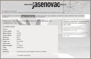 Podaci JUSP Jasenovac prema kojima je Stanko Nick ubijen u Jasenovcu 1941. godine